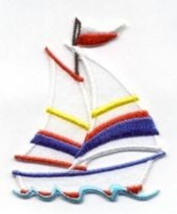 White Sailboat with Red, Blue, and Yellow Stripes