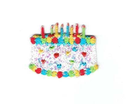 Mini White Confetti Shimmery Birthday Cake with Candles