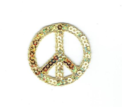 Sequin Peace Sign - Gold