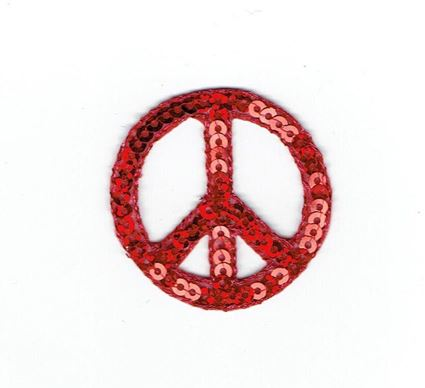 Sequin Peace Sign - Red