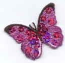 BUTTERFLY SEQUIN FUCHSIA IRON ON PATCH 155811-H