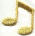 MUSICAL DOUBLE NOTE GOLD IRON ON APPLIQUE 240979-A