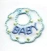 BABY BIB BLUE IRON ON CHILDREN'S PATCH APPLIQUE 695560-A