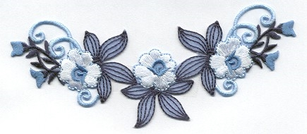 FLOWERS BLUE & WHITE IRON ON PATCH APPLIQUE 696701-A