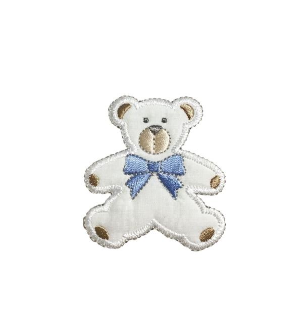 Puffy Teddy Bear - Blue Bow