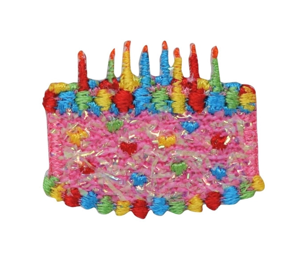 Pink Confetti Shimmery Birthday Cake with Candles