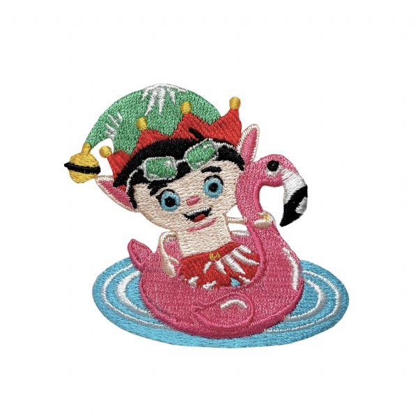 Swimming Elf - Pink Flamingo Float Tube