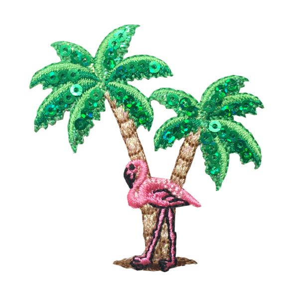 Sequin Flamingo with Palm Trees