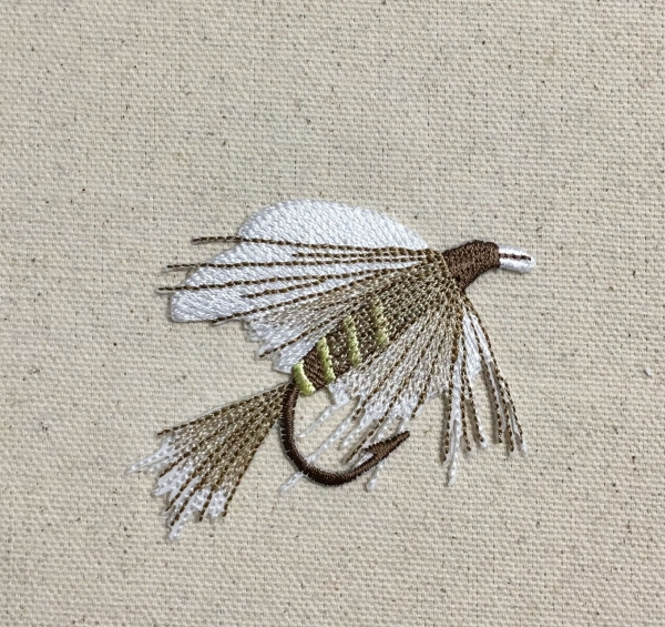 L Fly Fishing Lure - White/Brown