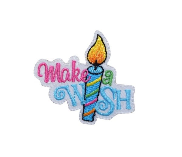MAKE A WISH CANDLE IRON ON PATCH 1518600-A