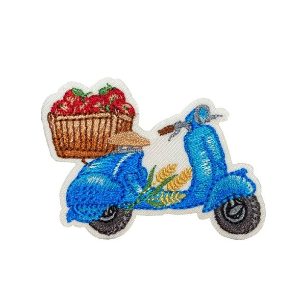 Blue Scooter with Apples