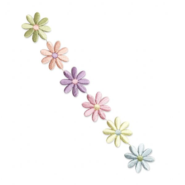 FLOWER LARGE DAISY STRIP PASTEL IRON ON PATCH APPLIQUE 693772-A