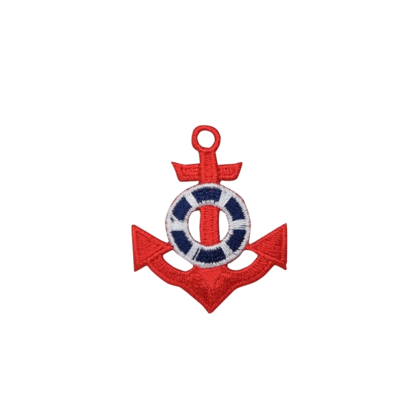 Red Anchor with Blue and White Preserver