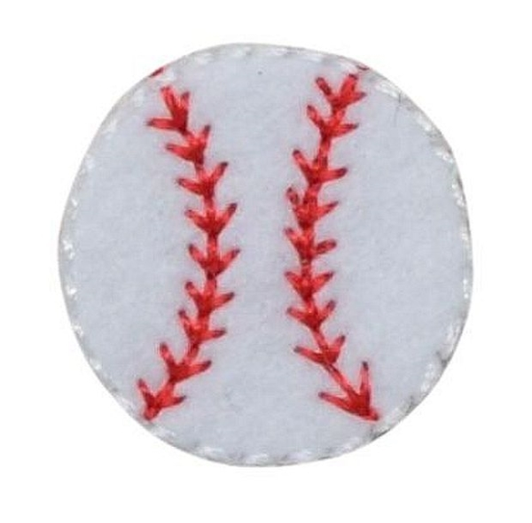 Baseball with red stitches