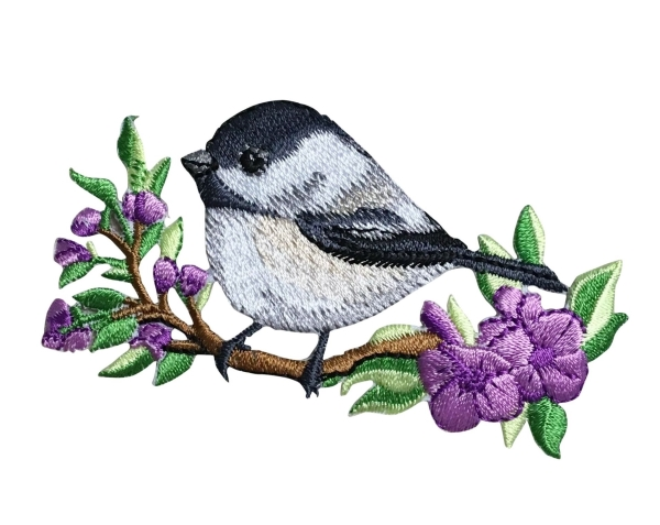BIRD CHICKADEE ON BRANCH IRON ON PATCH 697185-A