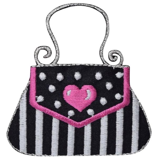 Black/Silver Purse - Pink Heart