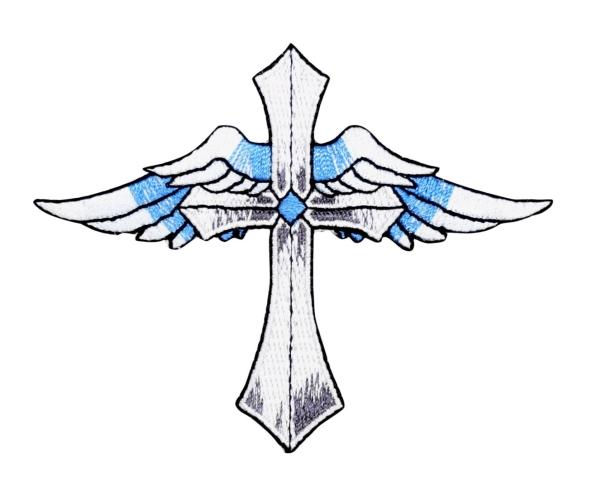 Cross - Angel Wings - Blue/White