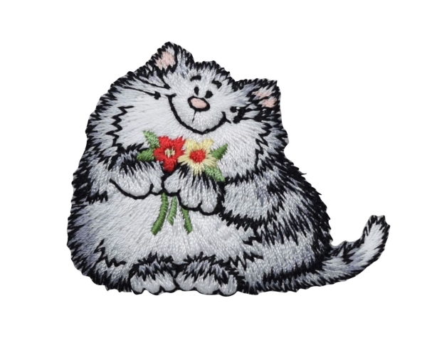 Gray Cat with Daisy Flowers