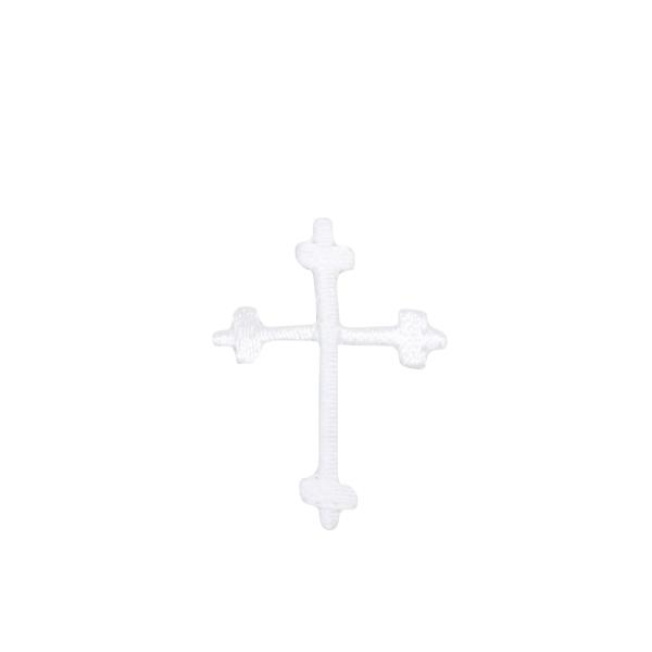 Small White Fleur de Lis Cross