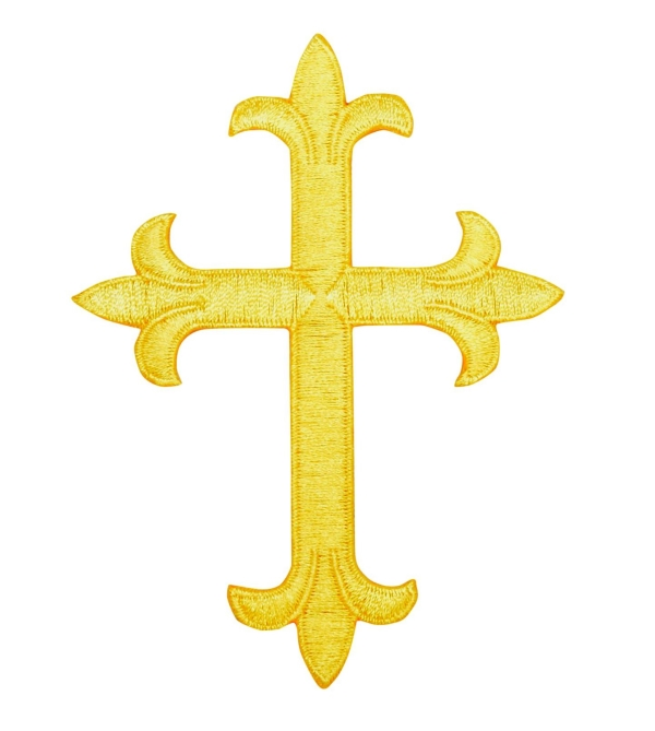 Yellow Fleur de Lis Cross Religious