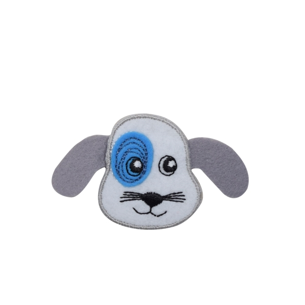 Puppy with Blue Patch Gray Ears Iron on Applique