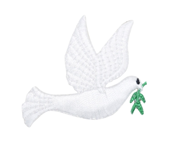White Peace Dove with Olive Branch Facing Right