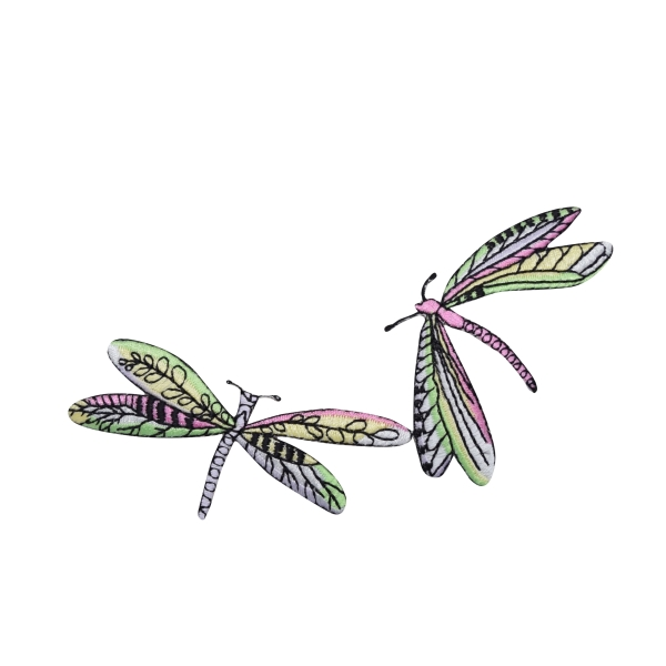 Two Dragonflies - Lime Green/Pink