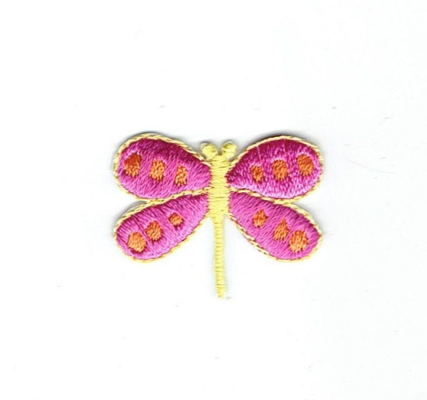 DRAGONFLY PINK WINGS WITH YELLOW IRON ON PATCH 682384-C