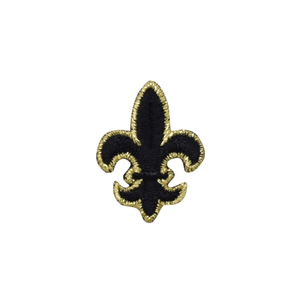 FLEUR DE LIS BLACK & GOLD MEDIUM IRON ON PATCH APPLIQUE 695376-A
