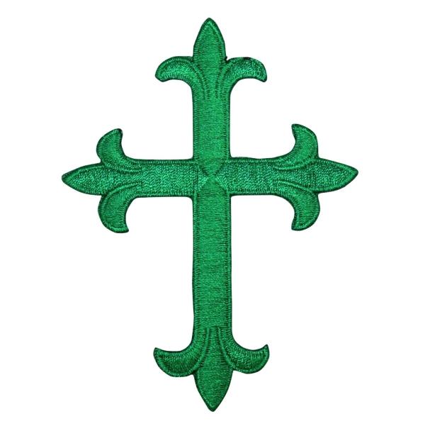 Fleur-de-lis Cross Emerald Green