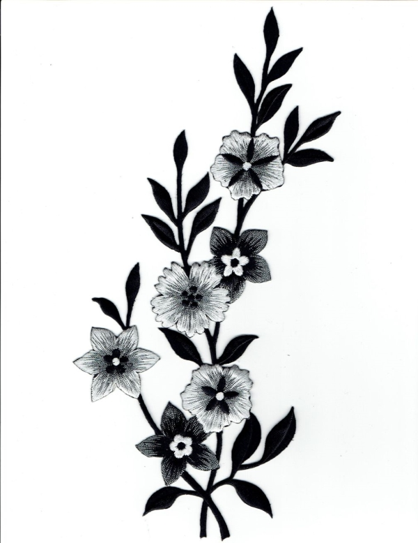 FLOWER BLACK, WHITE & SILVER LEFT IRON ON PATCH 692258-A
