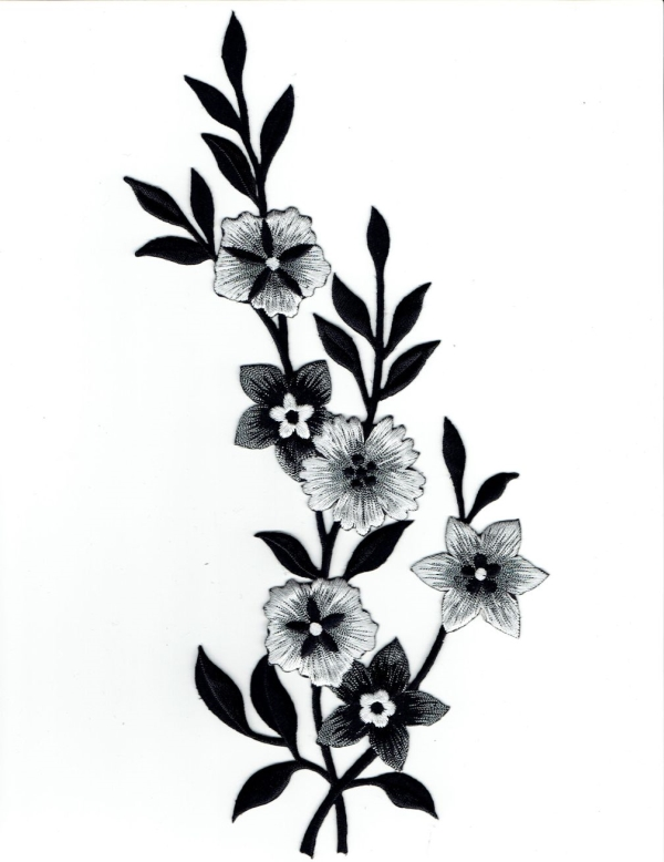 FLOWER BLACK, WHITE & SILVER RIGHT IRON ON PATCH 692258-AR