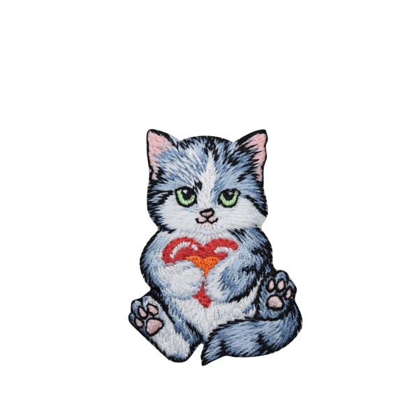 Gray Kitty Cat Holding Red Heart