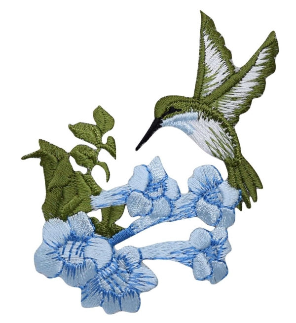 Large Hummingbird - Blue Flower - Facing Left