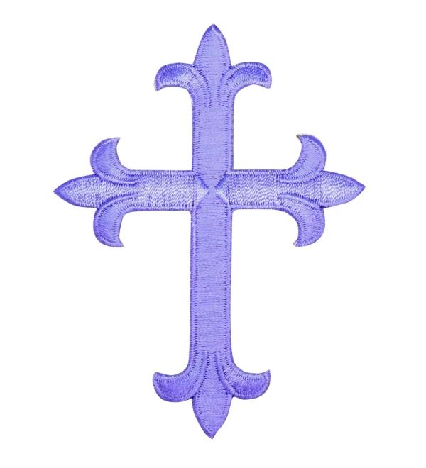 Lavender Purple Fleur De Lis Religious Cross