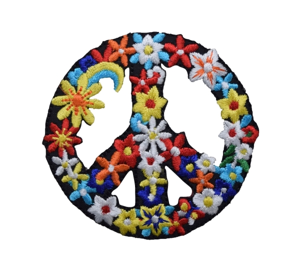 PEACE SIGN FLOWERS IRON ON APPLIQUE 697102-A