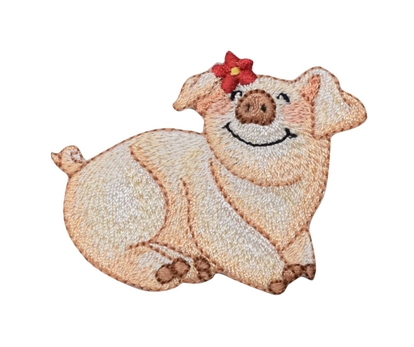 Smiling Pig with Red Daisy