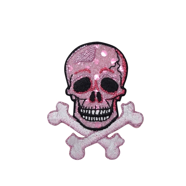 Skull with Crossbones - Pink Shimmery