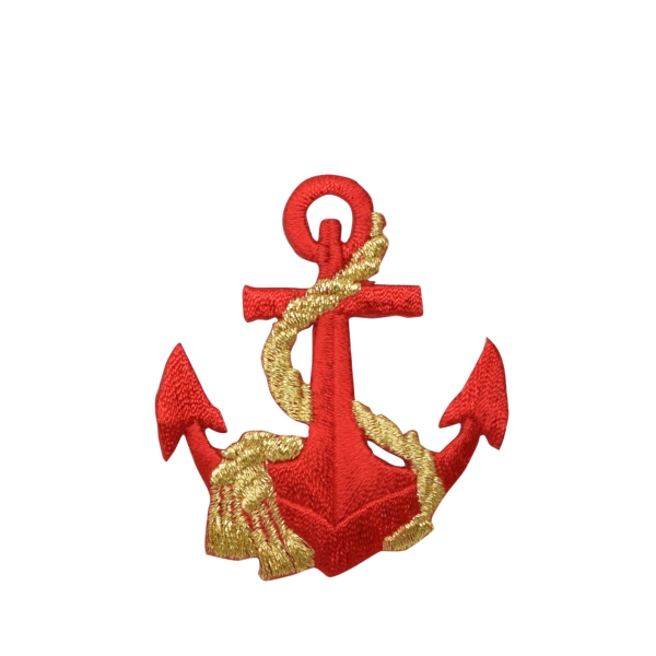 Nautical Red Anchor with Gold Rope