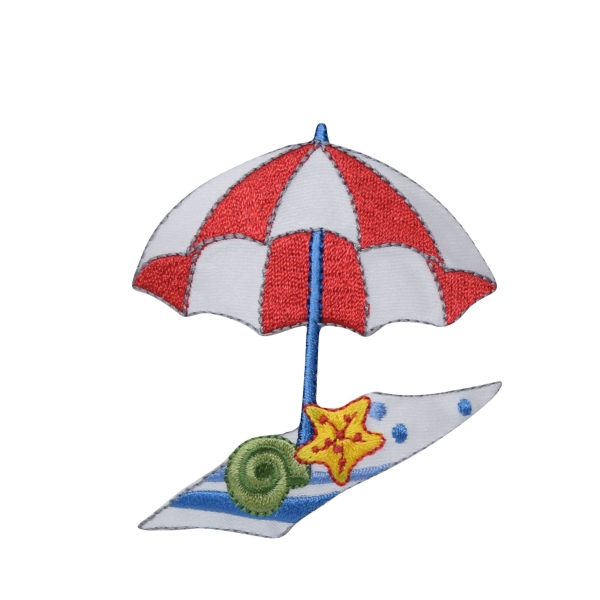 Red/White Beach Umbrella with Towel