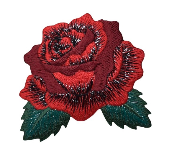 Red Rose with open Petals and Leaves