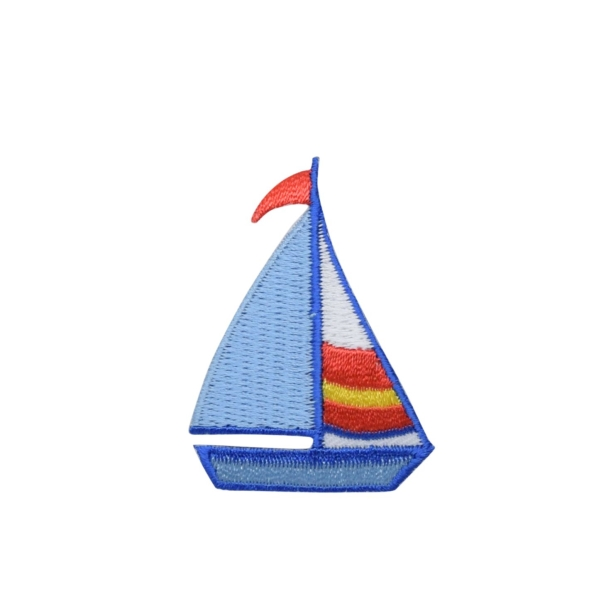 Blue Sailboat - Red/Yellow Stripes