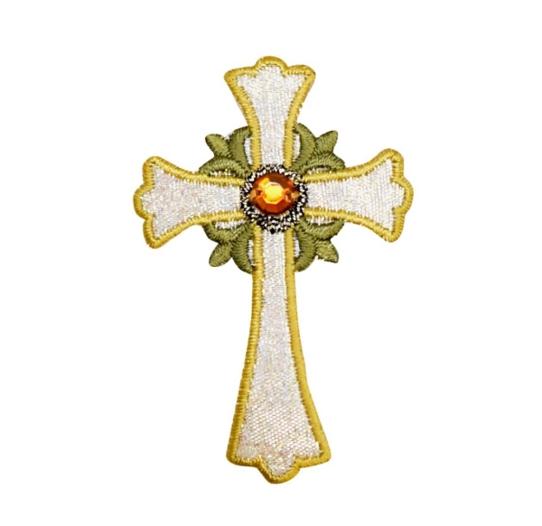 Silver and Gold Religious Cross with Jewel
