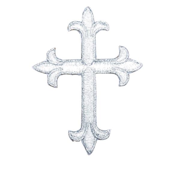 Silver Fleur De Lis Religious Cross