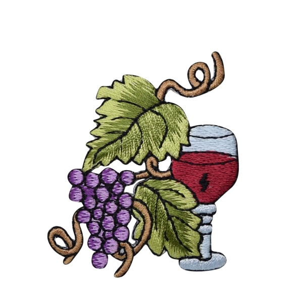 Grapes with Wine Glass and Grapevine