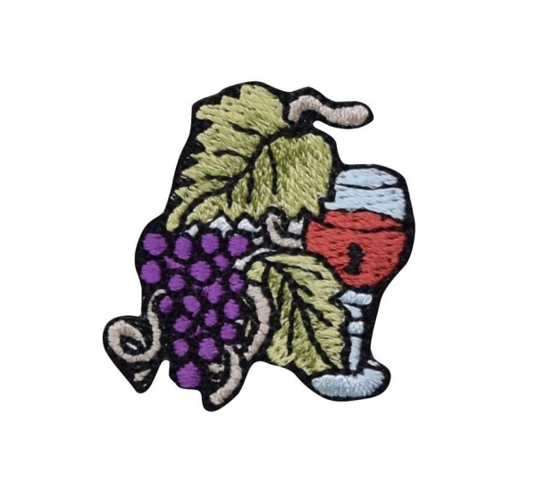 Small Grape Cluster with Wine Glass