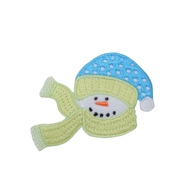 Snowman with Green Scarf and Blue Hat