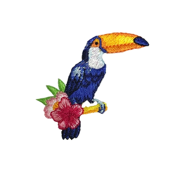 Blue Toucan with Flowers