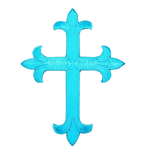 Tropical Blue Fleur De Lis Religious Cross