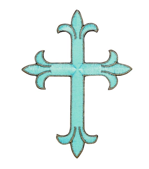 Cross - Fleur De Lis -Turquoise - Light Brown outline
